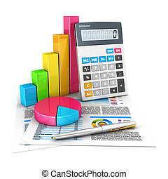 3d accounting concept, isolated white background, 3d image