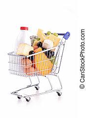 compras, carrito, lechería, producto