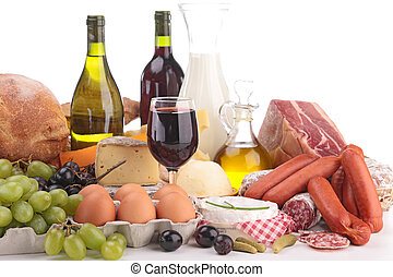 composition with wine,cheese,bread,meat