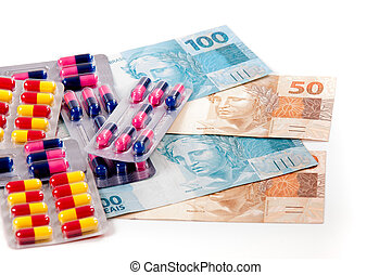 Pills ,capsules and brazilian currency