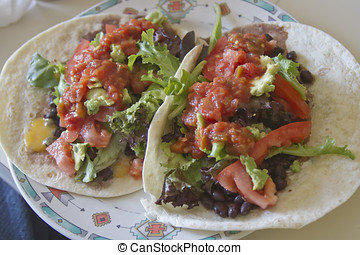 Two Heaping Black Bean Burritos - Two mouth watering...