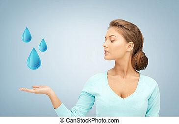 藍色, 水, 顯示, 婦女, 下降