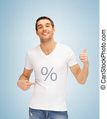 man with percent icon showing thumbs up - picture of man...
