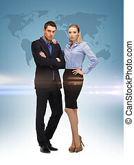 woman and man with world map