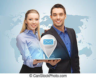 man and woman with virtual email sign - businesswoman and...