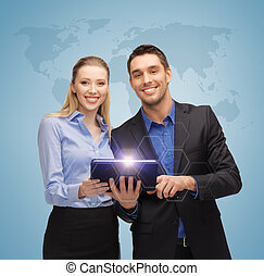 man and woman with tablet pc - bright picture of man and...