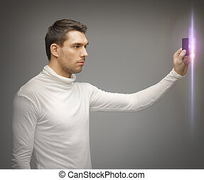 man with access card - picture of futuristic man with access...