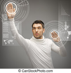 man working with virtual screens - picture of futuristic man...