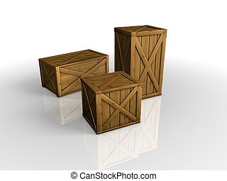 Wooden Cargo Box on white background