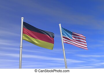 American and German flag in the wind