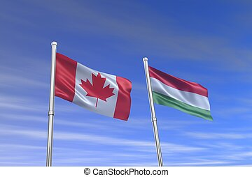 canada and italy flag in the wind