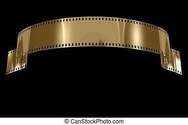 Gold Film on black background
