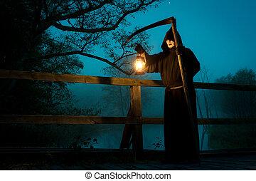 Puente, aceite, viejo, guadaña, lámpara, hombre
