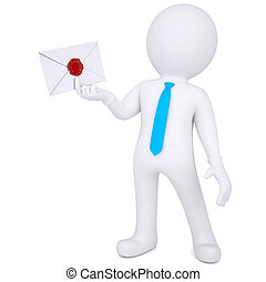 3d man holding an envelope in his hand. Isolated render on a...