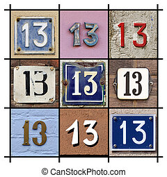 Numbers Thirteen - Collage of House Numbers Thirteen