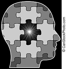 Missing Puzzle Piece - Illustration of a persons head with...