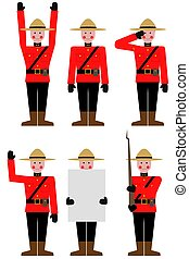 Mountie - Illustration of a Mountie in different poses