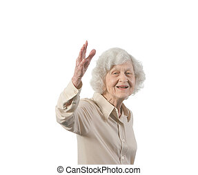 Happy Old Lady Waving - Happy and smiling old lady waving....