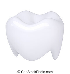 White tooth. Isolated render on a white background