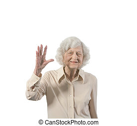 Happy Old Lady - Happy old lady waving. Isolated with...