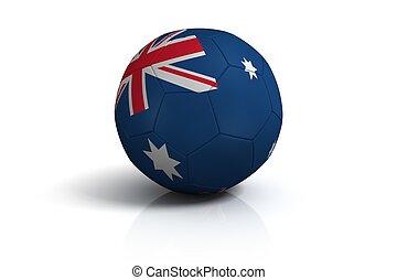 Soccer ball australia on white background