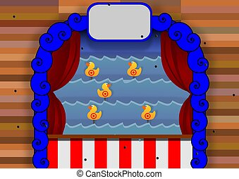 Duck shoot - Illustration of a duck shoot carnival game
