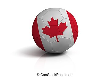 Soccer ball canada on white background