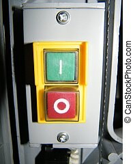 Machine on off buttons