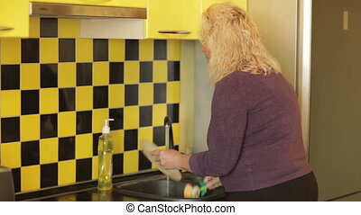 Middle-aged woman washing a plate in the kitchen. -...