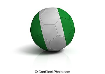 Soccer ball nigeria on white background