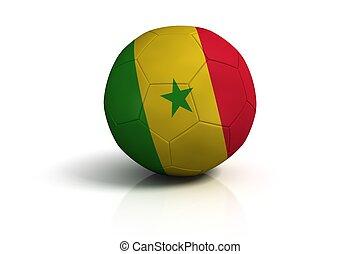 Soccer ball senegal on white background