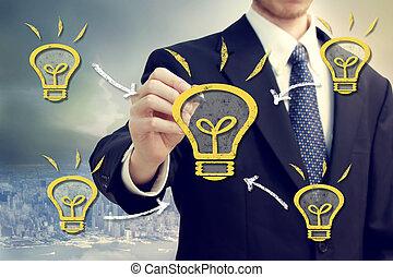 Businessman with light bulbs