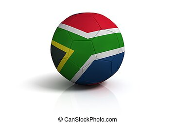 Soccer ball south africa on white background