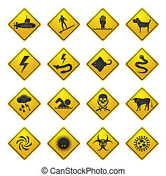 Warning Signs for sea - Warning Signs for dangers in sea,...
