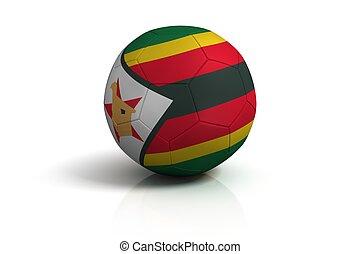Soccer ball zimbabwe on white background
