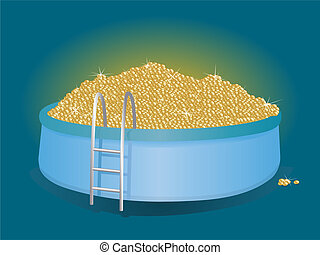 pool of money - Mountain of gold coins in the inflatable...