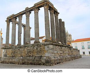 Roman Temple in Evora, Portugal - Ruins of the RomanTemple...