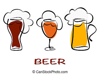 Beer collection. Three mugs of beer pint on white. Vector...
