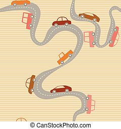 Seamless background with road and cars - Stripy seamless...