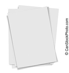 close up stack of papers on white background - collection of...