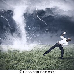 Crisis and business storm - Concept of crisis with storm and...