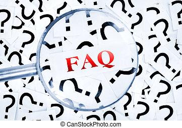 FAQ word on question mark - FAQ word found in many question...