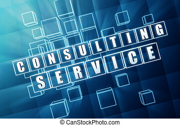 consulting service in blue glass cubes - consulting service...