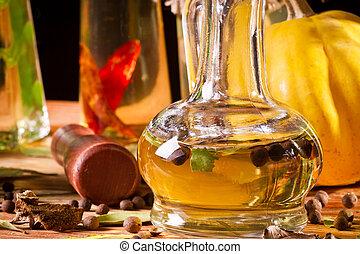 bouteille, légume, huile, cave