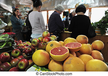 Food Markets - TEL AVIV - JAN 22:Fruit on display on Jan 22...