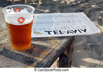 Tel Aviv - Israel - TEL AVIV - MAY 26:Cup of local beer and...