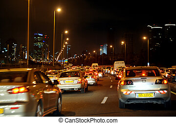 Tel Aviv - Israel - TEL AVIV - DEC 13:Heavy traffic on...