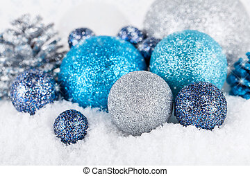 festive glitter christmas decoration silver blue