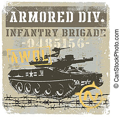 Military tank - illustration for shirt printed and poster
