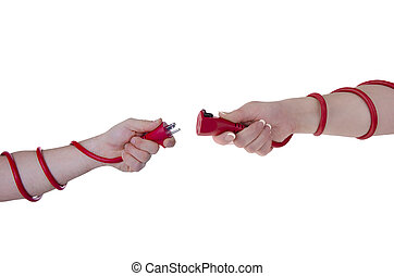 Man and woman unplugged - Man and woman hand's holding plug...